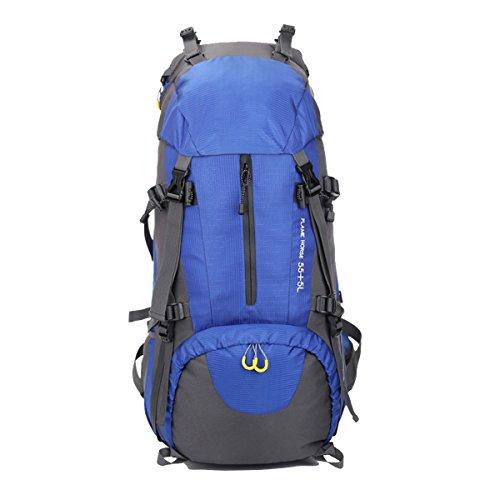 Hikerway Wasserdicht 60L Berufsjagd Wilde Camping Reise Rucksack Blau (90 Air Mag)