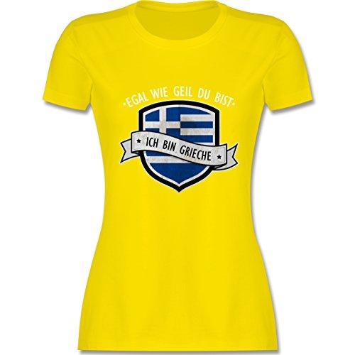 Shirtracer Länder - Egal wie Geil Du BIST - Ich Bin Grieche - Damen T-Shirt Rundhals Lemon Gelb
