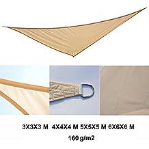 Homcom - Toldo vela color arena sombrilla parasol triangulo hdpe 160g/m2 jardin playa camping sombra (varios colores y medidas), medida 4x4x4 metros, color arena