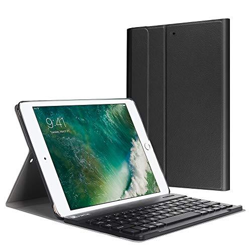 Fintie Tastatur Hülle für iPad 9.7 Zoll 2018 2017 / iPad Air 2 / iPad Air - Ultradünn leicht Schutzhülle Keyboard Case mit magnetisch Abnehmbarer drahtloser Deutscher Bluetooth Tastatur, Schwarz