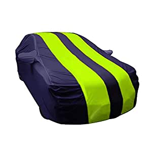 ARNV Car Body Cover for Amaze Built Fabric, Comes with Pocket Mirror and Belt Blue & Yellow