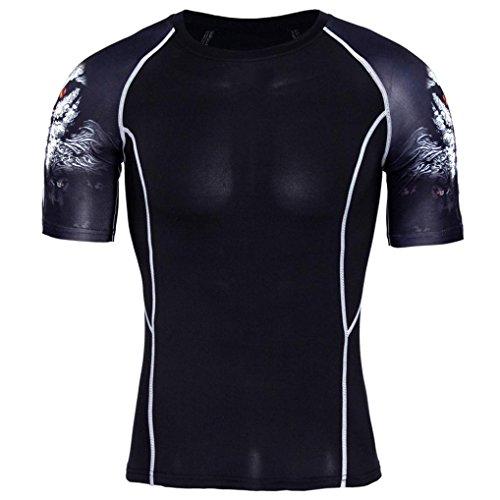 URSING Herren T-Shirt Sportswear Quick Dry Kurzarm Slim Fit Aesthetics Atmungsaktiv Trainingsshirt Funktionsshirt Fitness Sport Laufen Yoga Sportlich Shirt Bluse Top (2XL(Asian 2XL=EUXL), Schwarz)