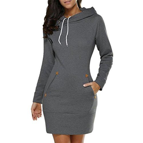 Damen Hoodies Pullover Btruely Frau Herbst Lang Hooded Sweatshirt Mode Langarm Minikleid Tops (XXXL, Dunkel Grau) (Gestreifte Jeans Crew)