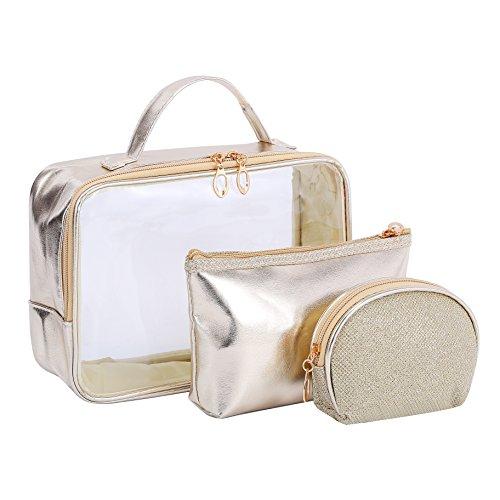 Clair Cosmétique Lot de sacs, Hoyofo 3pcs étanche clair Organiseur de maquillage trousse de toilette Trousse de toilette de voyage avec poignée supérieure de voyage Trousse de toilette étui pochette pour fille or doré