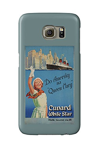 Cunard White Star - Queen Mary (Czech) Vintage Poster (artist: Curr) c. 1939 (Galaxy S6 Cell Phone Case, Slim Barely There) -