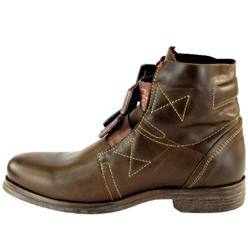 Damen Schuhe Fly London Ska Military Biker Leder Stiefel Braun