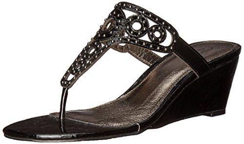 Adrianna Papell Ceci Leder Keilabsätze Sandale Black