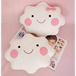 Primi Lovely Creative Girl Cute Smiley Face nube cojines con lazo (color blanco)