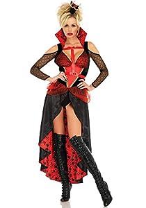 Leg Avenue- Mujer, Color Negro, Rojo, Medium (EUR 38-40) (86713)