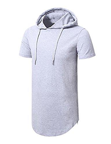 AIYINO Herren Kurzarm Langarm Hoodie T-Shirt 100% Baumwolle Kapuzenshirt  Hellgrau ... 1521a5dd4d
