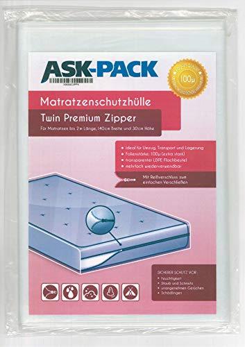 ASK Pack Premium Matratzenschutzhülle Twin mit REIßVERSCHLUSS für bis zu 140cm breite / 30cm hohe / 200cm Lange Matratze - EXTRA stark 100µ
