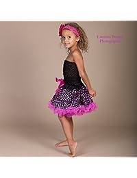 Ensemble 4 pièces,jupe satin noir à pois rose vif 6 mois à 3 ans,4 ans à 8 ans