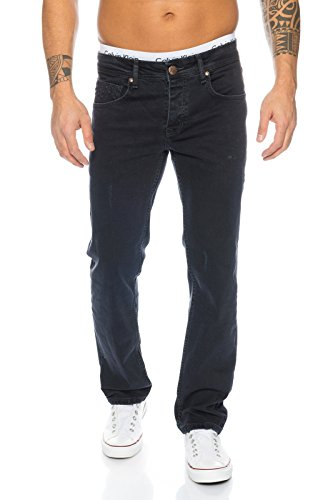 Rock Creek Herren Jeans Schwarz RC-2099 [W44 L34]