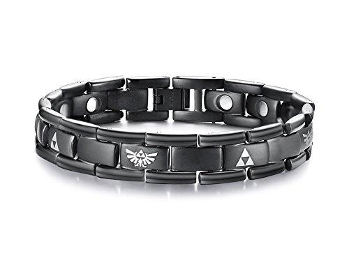 Vnox Black Titanium The Legend of Zelda Triforce Pulseras de Terapia Magnética para Hombres para Aliviar el Dolor, Herramienta Ajustable