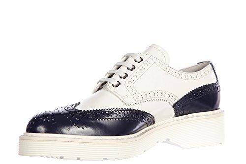Chaussures À Lacets Classiques Prada Pour Femmes Nouveau Blanc Derby Bicolore En Cuir Blanc
