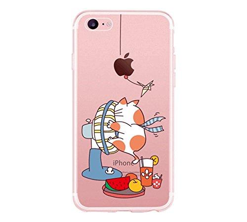 hülle iPhone 7 Plus transparent,TXLING Soft Flex TPU Silikon Bumper Style Handyhülle Schutzhülle Handy Gürtel Tasche Case Cover Fall-Abdeckung Etui TPU Bumper Schale für iPhone 7 Plus 5.5 - Katzenfan (Gesteppte Leder Kappe)