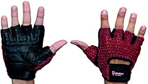 BOOM Pro Gym Gloves,Weight Lifting,Pure Cow Hide Leather Fitness Gloves,Body Building,Cycling (Medium)