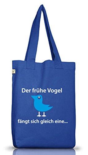 Shirtstreet24, Der frühe Vogel fängt sich gleich eine, Jutebeutel Stoff Tasche Earth Positive Bright Blue