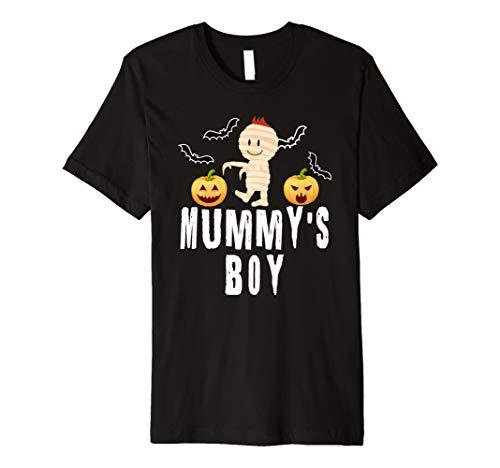 (Kid's Halloween Mummy's Boy Bats and Pumpkin Mummy Tee)