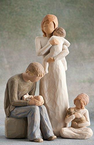 Willow Tree Mutter und Vater mit drei Kindern
