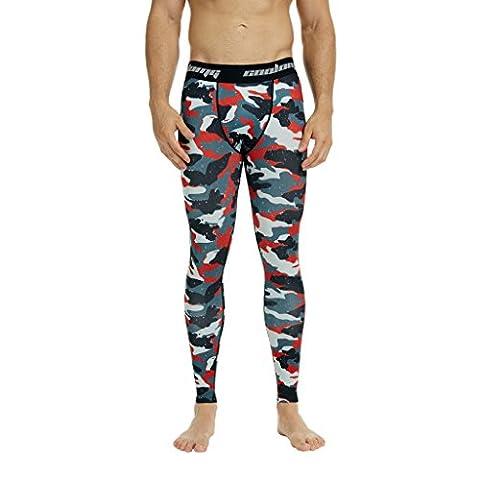 COOLOMG Männer Kompression Hosen Lange Base Layer Strumpfhose Running Pants Schnell Trocken Sport Leggings Camouflage_Red Erwachsene
