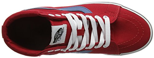 Vans Sk8-Hi Reissue, Scarpe da Ginnastica Alte Unisex – Adulto Rossa (Canvas racing red/blue ashes)