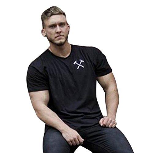 Yuanu Hombre Verano Sport Casual Manga Corta Camisetas Cómodo Transpirable Cuello Redondo Sport Culturismo Tops Negro M