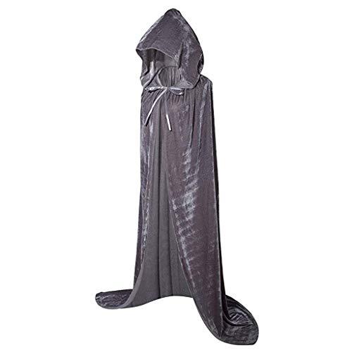 Realde Unisex Kapuzen Robe Umhang Ritter Fancy Cosplay Kostüm mit Kapuze Lange Samt Cape für Halloween Karneval Fasching Vampir Kostüm Vampir Zauberer für Damen - Baker's Frau Kostüm