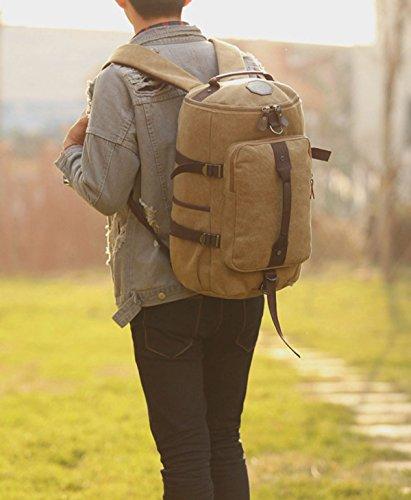 BAAFG Herren Leinwand Outdoor Bergsteigen Tasche Große Kapazität Tragen Atmungsaktive Reise Rucksack Khaki
