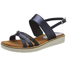 MARCO TOZZI Women's 2-2-28625-24 Ankle Strap Sandals, Blue (Navy Met.Comb 844), 6 UK