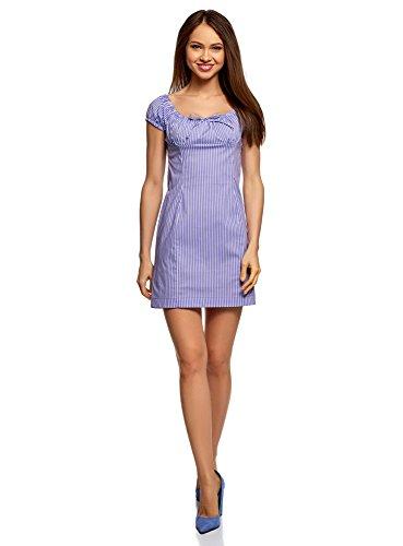 Lavendel-kleid-schuhe (oodji Ultra Damen Baumwoll-Kleid mit Raffungen auf der Brust, Violett, DE 40 / EU 42 / L)