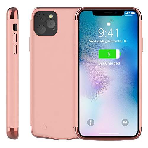 Rngqun Akku Hülle für iPhone Xis Max 6.5 Inch, Extra 6000mAh Wiederaufladbarer Protable Charge Batteriefach Handyhülle Backup Schützend Schutzhüllen Kompatibel iPhone Xis Max 6.5, Rose Golden -
