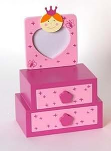 Boîte à bijoux en bois enfant + cadre photo Princesse Rose - 2 Tiroirs -