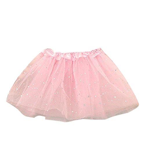 Baby Kleid Sterne Pailletten Partei Tanzen Ballett Rock Kleid (Rosa)