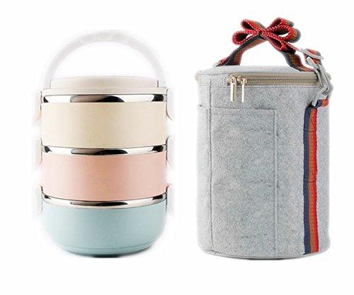 Linshe Lunchbox mit drei Fächern Edelstahl Lunchbox / Lebensmittelbehälter für Kinder Picknick Lunchbox Container mit verstellbarem Schultergurt / 2.1 L Bunte Lunchbox - 3 Fächer Freizeitkombination