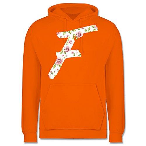 Anfangsbuchstaben - F Rosen - Männer Premium Kapuzenpullover / Hoodie Orange