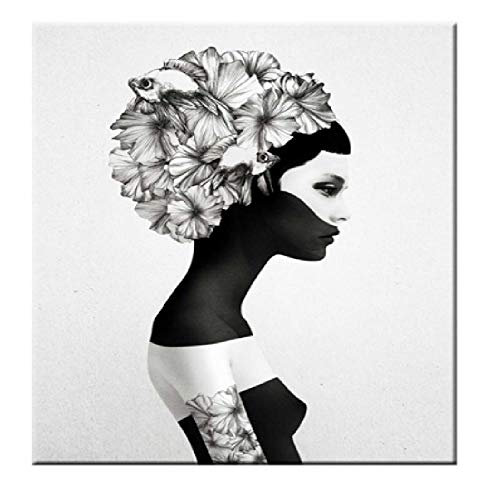 SCLPOSTER Poster Zitat Schwarz Weiß Schmetterling Frau Wandkunst Leinwand Wandbilder Gemälde, A -
