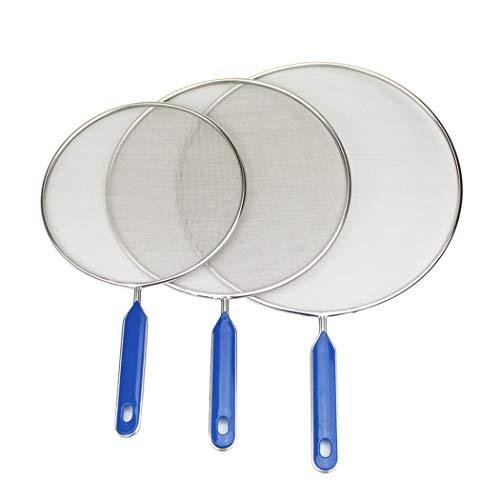 Set di 3 paraschizzi in acciaio inox con manico in abs da 27,9 cm, anti scottature, anti scottature, utensili da cucina