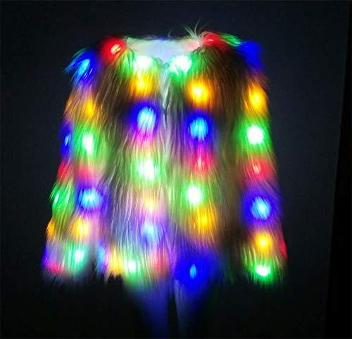 Frau Halloween Cosplay Kleidung Frau Weihnachten Party Abend Kleid Weiblich Gala Performance Kleidung LED-Licht Blitz, White