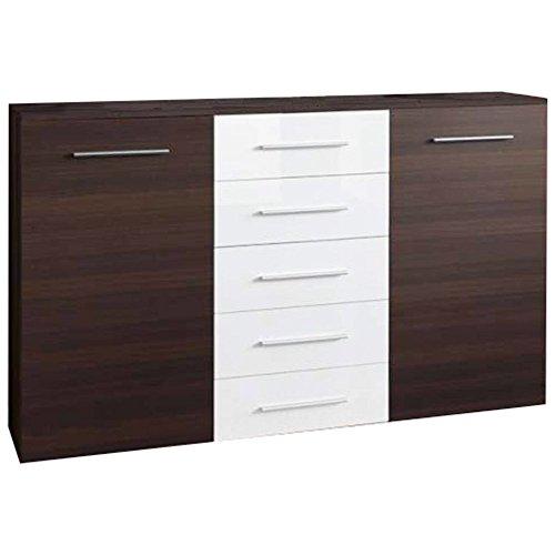 JUSTyou Fix Aparador Buffet Mueble de salón Comedor Tamaño: 102x150x40 cm Wengué Mat/Blanco Brillante