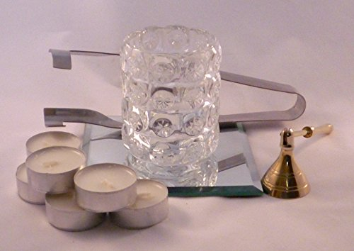Klar Abgeschrägten Glas Licht (Ikea Teelicht, Halterung und Zubehör Geschenk Set)