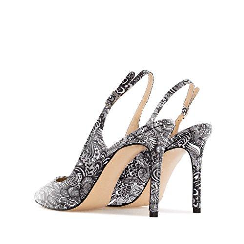 EDEFS - Scarpe col tacco donna - Scarpe con Cinturino dietro la Caviglia - Donna Slingback Scarpe Mix-Black