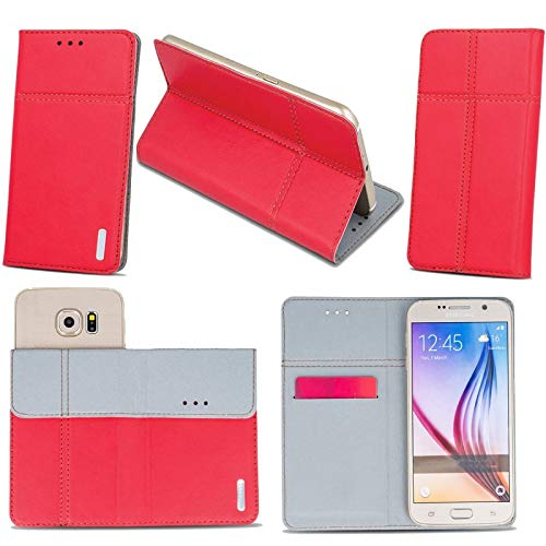 Supercase24 Switel Spark S5502D Handy Tasche Book Case Klapp Cover Schutz Etui Hülle in rot