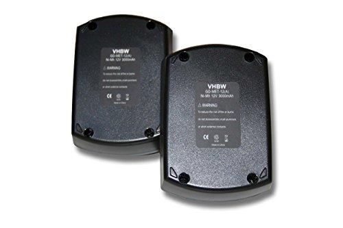 vhbw 2x Ni-MH Akku 3000mAh (12V) für Werkzeuge Metabo BS 12 SP, BSZ 12, BSZ 12 Impuls wie Metabo 6.02151.50, 6.25473.