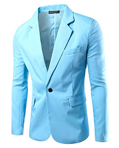 Uomo Slim Fit Uomo Casual One Button Elegante Vestito di Affari Cappotto Giacca Blazers Top Outwear Azzurro chiaro