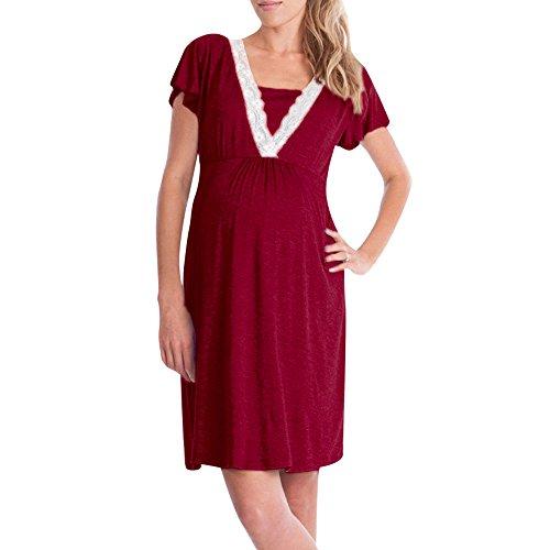 Kololy pigiama premaman cotone, camicia da notte premaman allattamento, vestiti premaman donna estivo maniche corte con scollo v casual pigiami per casa (vino,xl)