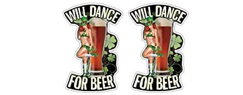 Dance for Beer sexy Irish Girl Gnome Kobold Guinness Harp Kilkenny Beer Bier Aufkleber Sticker + Gratis Schlüsselringanhänger Kokosnuss-Schale + Auto Motorrad Laptop Notebook Skateboard Snowboard BMX