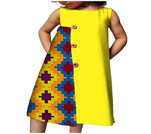 CuteRose Little Girls Kids Summer Sleeveless African Printed A-line Cotton Dress 3 S