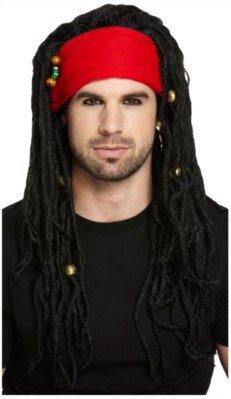 Piraten Perücke Kostüm Karibik - Piraten-Perücke mit Dreadlocks & Kopftuch - Kostüm-Zubehör