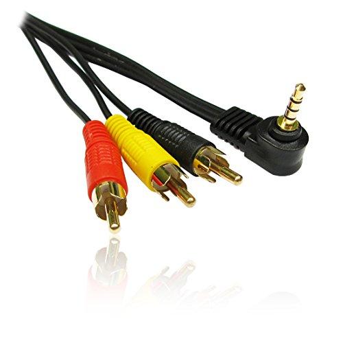 CDL Micro 3m vergoldet 3,5mm Rechts Winkel Jack Stecker Zu 3x RCA/Phono-Stecker Video Kabel für Camcorder